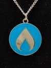 Flame Necklace with Silver Chain -Teal