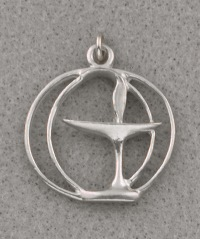 Double Circle Pewter Chalice Pendant - 1""