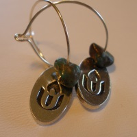 Chalice Hoop Earrings with Turquoise Stone and Pewter Charm