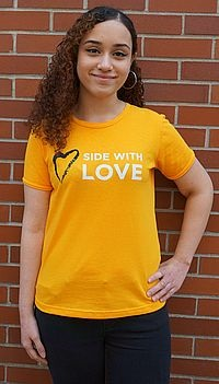 Side with Love Scoop Neck Fitted T Shirt 3X-Large